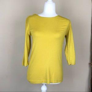 BRYN WALKER | Yellow Green Half Sleeve Top Tencel